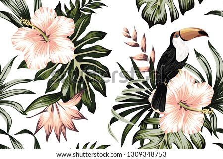 Tropical vintage toucan parrot green floral palm leaves pink hibiscus, strelitzia flower seamless pattern white background. Exotic jungle wallpaper.