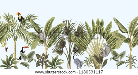 Tropical vintage wild animals, bird, palm tree, banana tree and plant floral seamless border blue background. Exotic jungle wallpaper.