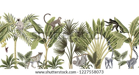 Tropical vintage wild animals, bird, palm tree, banana tree and plant floral seamless border white background. Exotic jungle wallpaper.