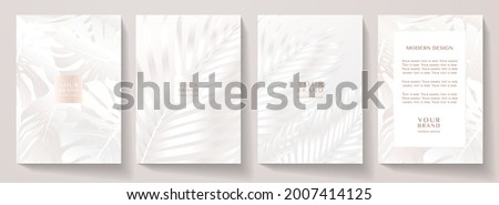 Tropical white cover design set. Floral beauty background with exotic leaf pattern (monstera plant). Elegant vector template for wedding invite, brochure layout, spa leaflet, cosmetic backdrop, makeup