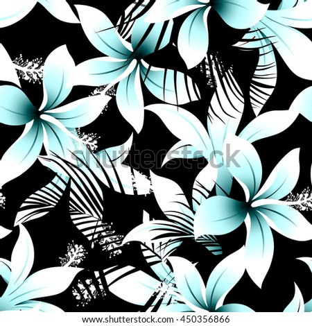 Tropical white frangipani hibiscus with black palms seamless pattern .