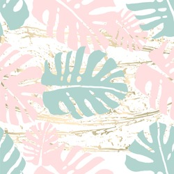 Tropical Worn Floral pastel pink mint gold pattern for wallpaper, textile, flooring, interior design, wedding invitation, fashion banners. Chic background for your design made in vector
