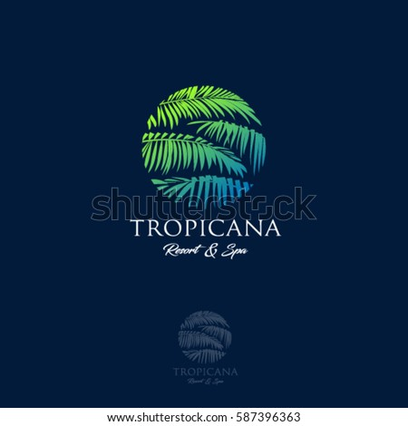 Tropicana logo. Resort and Spa emblem. Tropical cosmetics. Beauty. Palm leaves in a circle.