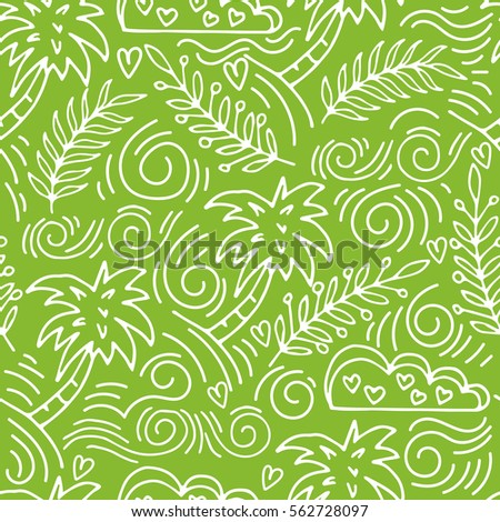 Tropics. Palm trees seamless pattern. Hand Drawn doodle palm tree, cloud, Tropical wallpaper. Vector summer vacation background.