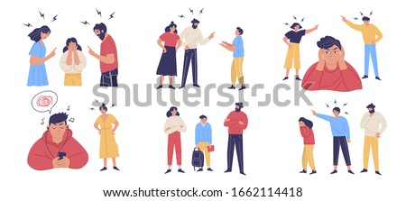 Trouble and fight between teenagers and their parents. Scenes of misunderstanding, abuse, moral violence. Teeny depression, anxiety, stress. Vector Illustration