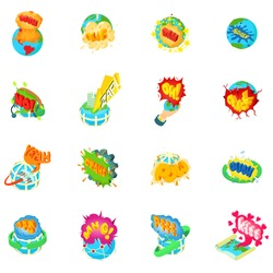 Troubled earth icons set. Isometric set of 16 troubled earth vector icons for web isolated on white background