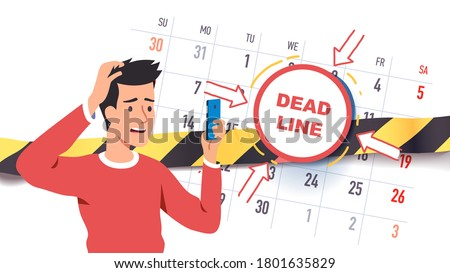 Troubled worried freelancer scared of upcoming deadline date. Time constraint man employee character stressed about missing calendar deadline looking at cell phone. Flat vector concept illustration