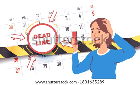 Troubled worried freelancer scared of upcoming deadline date. Time constraint woman employee character stressed about missing calendar deadline looking at cell phone. Flat vector concept illustration Stock photo ©