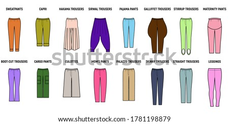 Trousers for woman set. Pants vector illustration for girls. Stockfoto ©