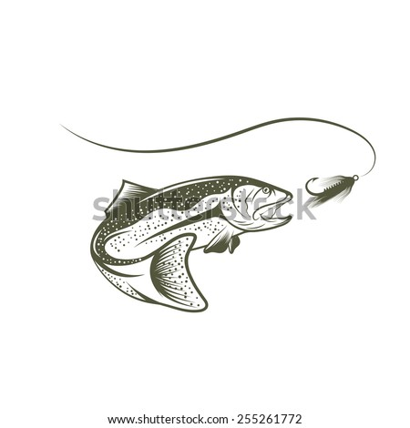 trout and lure vector design