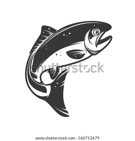 trout fish icons isolated on