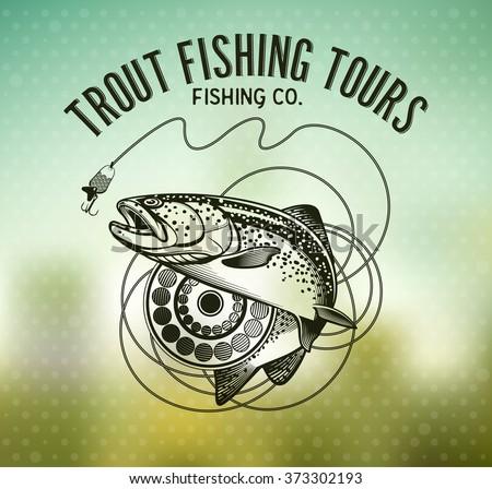 trout fishing emblem on blur