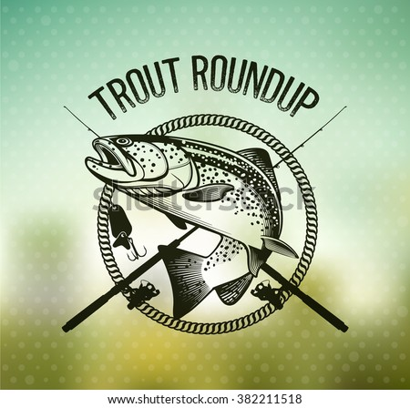 trout fishing emblem on blur