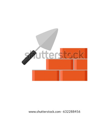 Trowel and brick wall icon isolated on white background. House construction. Cement trowel. Flat vector illustration design.