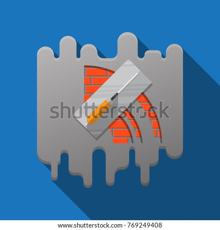 Trowel and brick wall vector icon building design.