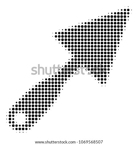Trowel halftone vector icon. Illustration style is dotted iconic Trowel icon symbol on a white background. Halftone pattern is circle blots.