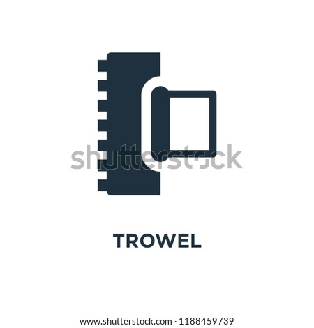 Trowel icon. Black filled vector illustration. Trowel symbol on white background. Can be used in web and mobile.