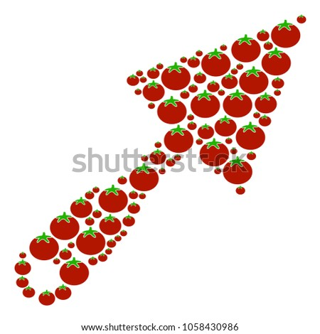 Trowel mosaic of tomato in different sizes. Vector tomato vegetable elements are combined into trowel collage. Organic vector illustration.