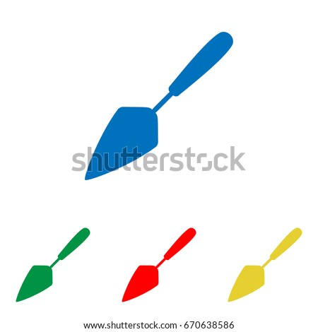 Trowel sign illustration. Vector. Big blue flat icon with red, green and yellow small icons at white background. Isolated.