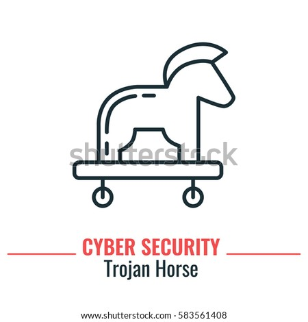 troy horse thin line icon