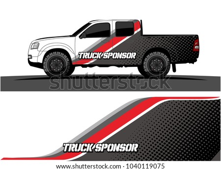 truck and vehicle Graphic vector. Racing background for vinyl wrap and decal