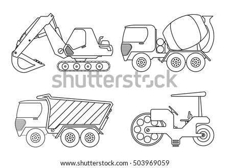 truck coloring book for kids vector illustration of crane car cement truckrollor - Construction Signs Coloring Pages