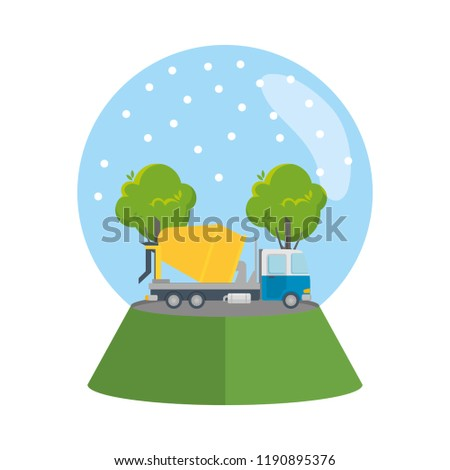 truck concrete mix vehicle in snow sphere or snowglobe