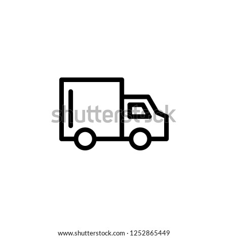 Truck courier delivery, vector icon illustration in line/outline style