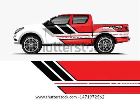 Truck decal wrap design vector. Graphic abstract stripe racing background kit designs for vehicle, race car, rally, adventure and livery - Vector