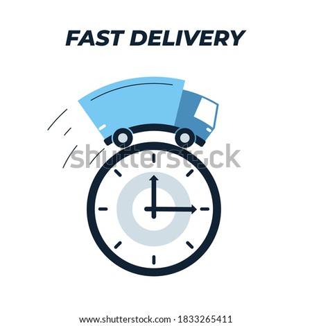 Truck delivery and watch face icon. Vector illustration of a freight car driving on top of the watch face. Loaded truck icon. Represents a concept of express delivery and short delivery time, deadline Foto stock ©