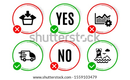 Truck delivery, Operational excellence and Get box icons simple set. Yes no check box. Lighthouse sign. Express service, Corporate business, Send package. Navigation beacon. Industrial set. Vector