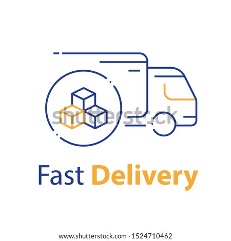 Truck delivery, transportation company, distribution service, logistics solution, load shipping, order shipment, send parcel, express relocation, vector line icon