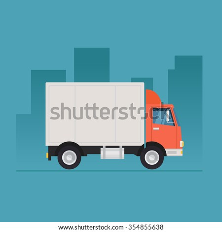 Truck delivery vector illustration isolated on background. Truck car on road in flat style. Trucking and delivery concept design.