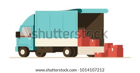 Truck delivery vector illustration. Soft van trailer. Heavy load vehicle. Commercial transport flat illustration set.