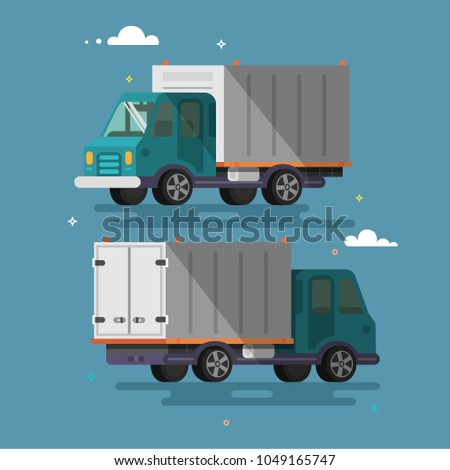 Truck delivery vector illustration  Truck car on road in flat style. Trucking and delivery concept design.