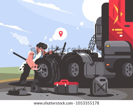 Truck driver is repairing car. Trucker lorry changes wheel. Vector illustration