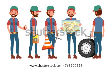 Truck Driver Vector. Professional Worker Man. Isolated Flat Cartoon Character Illustration