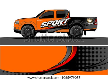 Truck graphic. Simple curved lines with grunge in the background vector