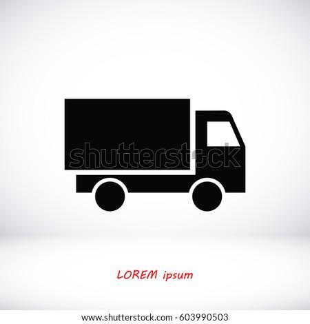 Truck icon, vector illustration. Flat design eps 10