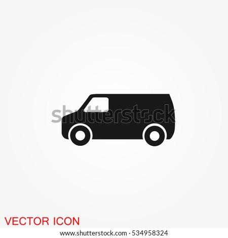 Truck icon, vector transportation symbol