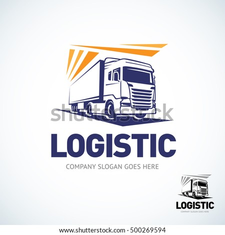 Truck logo template. Logistic trick logo. Isolated vector illustration.