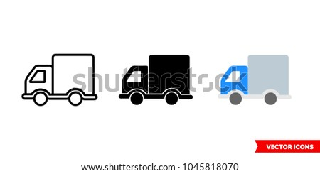 Truck lorry icon of 3 types: color, black and white, outline. Isolated vector sign symbol.