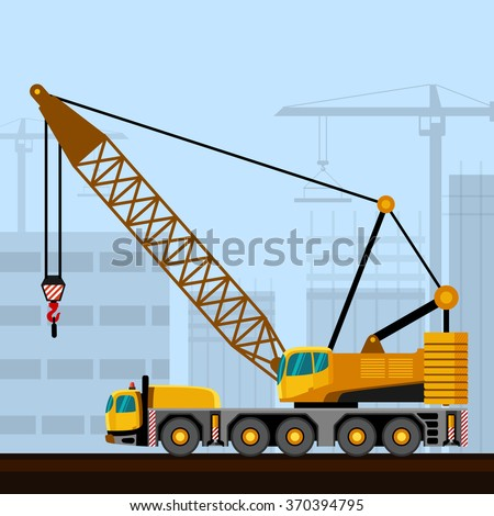 Truck mounted lattice boom with construction background. Side view mobile crane vector illustration