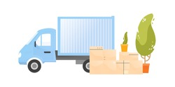 Truck near a pile of cardboard boxes with belongings and houseplants vector flat illustration. Cargo transportation for moving to new house isolated. Vehicle of shipping service or transport company