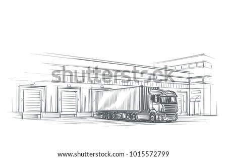 Truck near loading dock/logistics firm illustration. Vector. eps 10.