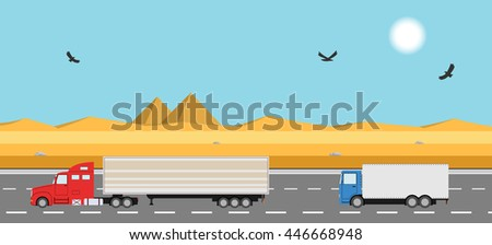 truck on the road desert with
