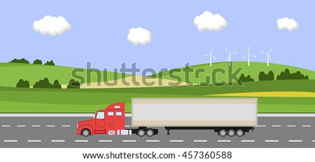 Truck on the road. Rural landscape with windmill. Heavy trailer truck. Logistic and delivery concept. Vector illustration.