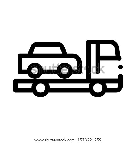 Truck Picks Up Car Icon Vector. Outline Truck Picks Up Car Sign. Isolated Contour Symbol Illustration