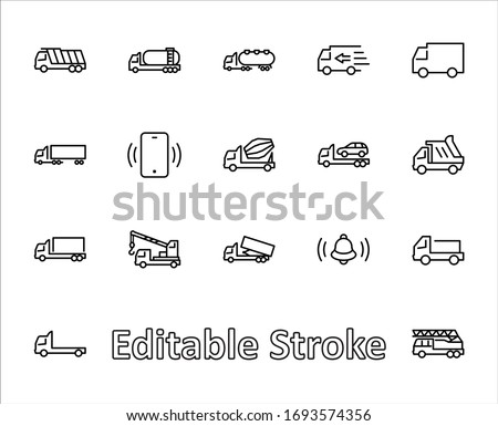 Truck Set of Transport Vector Line Icons. Contains such Icons as Truck, Transportation, Tow Truck, Cranes, Mixer, Garbage Truck, Manipulators, Delivery service and more. Editable Stroke. 32x32 Pixels