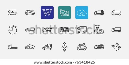 Truck Set of Transport Vector Line Icons. Contains such Icons as Truck, Transportation, Tow Truck, Cranes, Mixer, Garbage Truck, Manipulators, Delivery service and more. Editable Stroke. 32x32 Pixel